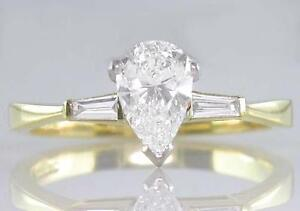 Diamond Engagement Ring 0.90ct Certified D VS1 Pear-shape 18ct Gold