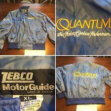 Vtg RARE Zebco Motor Guide Fishing Quantum Blue Nylon Jacket Size XL Zipper/Snap
