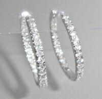 Klapp-Creolen Damen Ohrringe 925 Sterling Silber Zirkonia klar - 22 mm + Etui