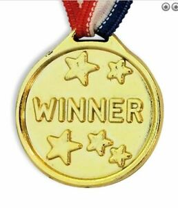 Children WINNER MEDAL Gold Kids Party Game Toy Win Prize Award Sports Day Loot