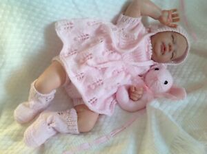 """Hand knitted baby clothes angel top dress outfit set 0-3 mths reborn doll 20""""22"""""""
