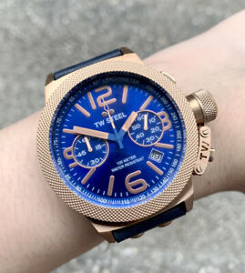 TW Steel Watch * CS63 Canteen 45MM Chrono Blue & Rose Gold, Blue Leather NO BOX