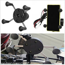 Portable Black X-Grip Motorcycle Cell Phone Holder Cradle USB Charger For iPhone