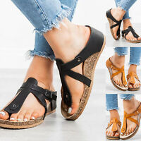 Women's Summer Flat Low Wedge Platform Heels Flip Flops Beach Sandals Shoes Size