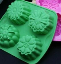 SOAP MAKING  MOLDS - 2 FLOWER MOLDS- GREEN - GR8 FOR MELT & POUR SOAP MAKING