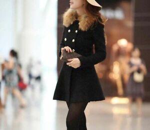 Women Winter Long Parka Coat Jacket fur collar Windbreaker Trench Coat Outwear