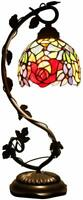 """Rose Stained Glass Lamp Handcrafted 20.5"""" tall Elegant Victorian Vintage Style"""