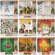 Christmas Tree candle balls Waterproof Fabric Shower Curtain Bathroom Mat Hooks