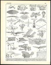 Antique Print-AVIATION-AIRCRAFT-FLIGHT-KITE-Larousse-1897