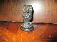 1890s Irish Bog Oak carved Owl Thimble holder Cornelius Goggin