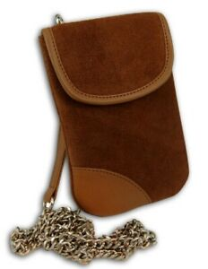 Mobile Phone Case Travel Pouch Holder with Pocket Belt Loop Neck Strap BROWN