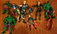Marvel Hulk Thor Hawkeye Captain America Black Widow Human Torch Figure Bundle