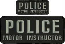 police motor instructor embroidery patches 4x10 and 2x5 hook on back grey
