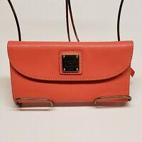 Dooney & Bourke Saffiano Leather Continental Clutch Wallet Coral Pebble Grain