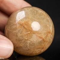 76g38mm Natural Rutilated Quartz Crystal Sphere Healing Ball Chakra Stone