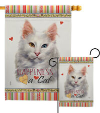 Turkish Angora Happiness Garden Flag Animals Cat Decorative Yard House Banner