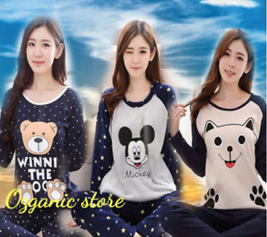 Female Women Pajamas Long Sleeve Pyjamas Women pyjamas baju Tidur perempuan