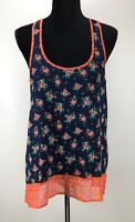 NEW SOCIALITE Women's Top Sleeveless Scoop Neck Semi Sheer Hi Lo Floral Print