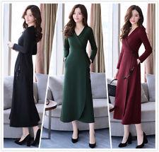 Spring Winter Fashion Belt V-Neck Long Sleeve A-Line Women Slim Long Dress S-3XL