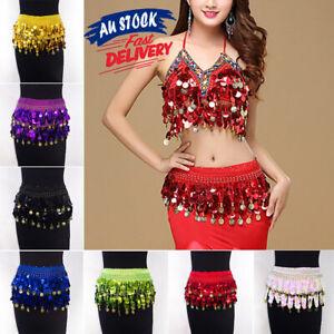 Women Wrap Belly Sequins Skirt Gold Coin Bling Lady Chiffon dance hip skirt belt