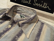 """PAUL SMITH Mens Shirt 🌍 Size L (CHEST 42"""") 🌎 RRP £95+ 📮 FLORAL AND STRIPES"""