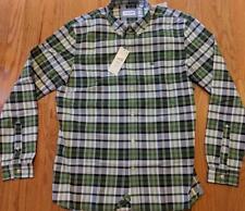 Mens Lacoste LS Checked Button Up Woven Shirt Green/Navy Blue 40 Medium $90