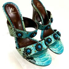 J VINCENT Women's Shoes Turquoise and Brown High Heel  Leather Sandals 7.5 M S2