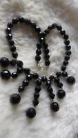 "Vintage Style Black Faceted Glass Round Bead Cascade 15"" Collar Necklace"