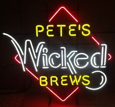 """New Pete's Wicked Brews Neon Light Sign 24""""x20"""" Lamp Poster Real Glass"""