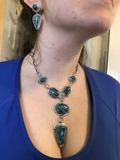 6 Stone Hi Gr Mojave Turquoise Sterling silver Necklace Set TByrd Navajo AJoe