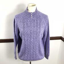 Rebecca Malone Womans Sweater Sz L Purple Pearl Buttons