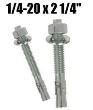 "(Qty 1,000) 1/4-20 x 2-1/4"" Concrete Wedge Anchor Zinc Plated"
