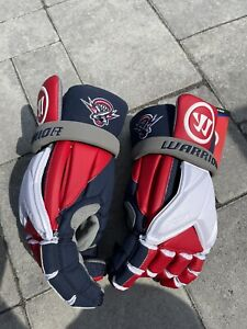 New Warrior Lacrosse Gloves Evo Pro Color Red, White, Size Large With Cannons