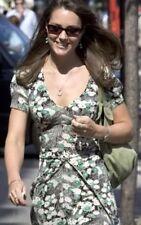 Topshop Famous 40s Vtg Green Floral Daisy Empire Princess Summer Tea Dress 8 4 S