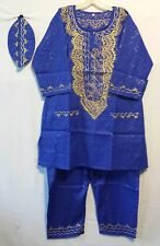 African Men's Pant suit Brocade Print Traditional clothing One Size Blue Gold