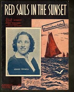 Red Sails in the Sunset 1935 Connie Boswell Sheet Music