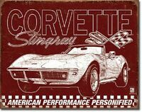 Chevy Corvette Sting Ray 1969 American Muscle Car Retro Wall Decor Metal Sign