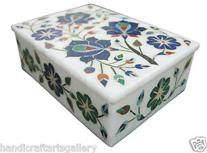 "5""x3.5""x1.5"" Leather Jewelry Box Cabinet Lapis Lazuli Inlay Collectible  H1889"