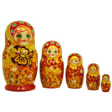 Authentic Russian Hand Painted Handmade Red Gold Nesting Doll set of 5 pcs