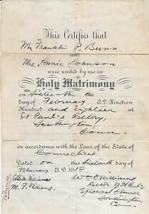 Southington Connecticut 1918 Original Wedding Certificate St Paul's Rectory ow47