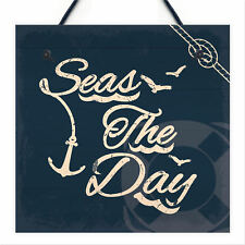 Seas The Day Nautical Seaside Bathroom Toilet Hanging Sign Shabby Chic Vintage
