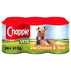 24 x 412g Chappie Adult Wet Dog Food Tins Chicken And Rice
