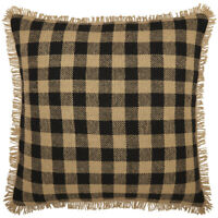 BURLAP BLACK CHECK PILLOW Fringed Tan Rustic Farmhouse Cotton 18x18 VHC Brands