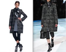 Marc Jacobs Runway Kaleidoscope Jacquard Metallic Print Shimmer Gray Coat $3000!