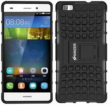 AMZER Dual Layer Hybrid Warrior Case Cover With Stand For Huawei P8 Lite - Black