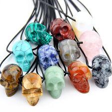 Natural Carved Skull Skeleton Statue Gemstone Specimens Pendant Necklace Gift