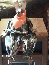 Handmade Wooden Deer with camo clothes..sits on table/legs hanging off On SALE!