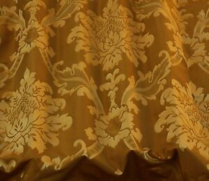 """Bronze/Copper Damask Jacquard 100% Silk Fabric 54"""" Wide, By The Yard (JD-44107)"""