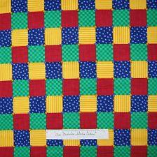 Squares Fabric - Red Blue Yellow Green Blocks - Cranston VIP Cotton YARD