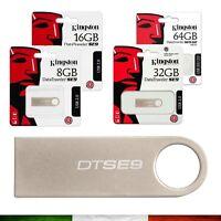 MEMORIA PEN DRIVE CHIAVETTA USB Kingston 4GB 8GB 16GB 32GB 64GB 128GB